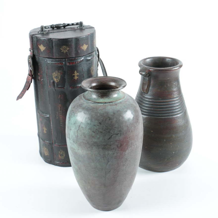 Metal Vases With Wood Container Ebth