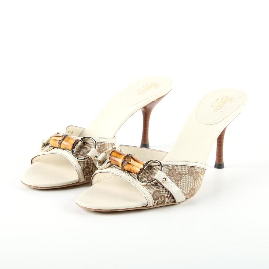 64f6815faaf Gucci GG Monogram Bamboo Horesebit Open-Toe High Heeled Slide Sandals   EBTH