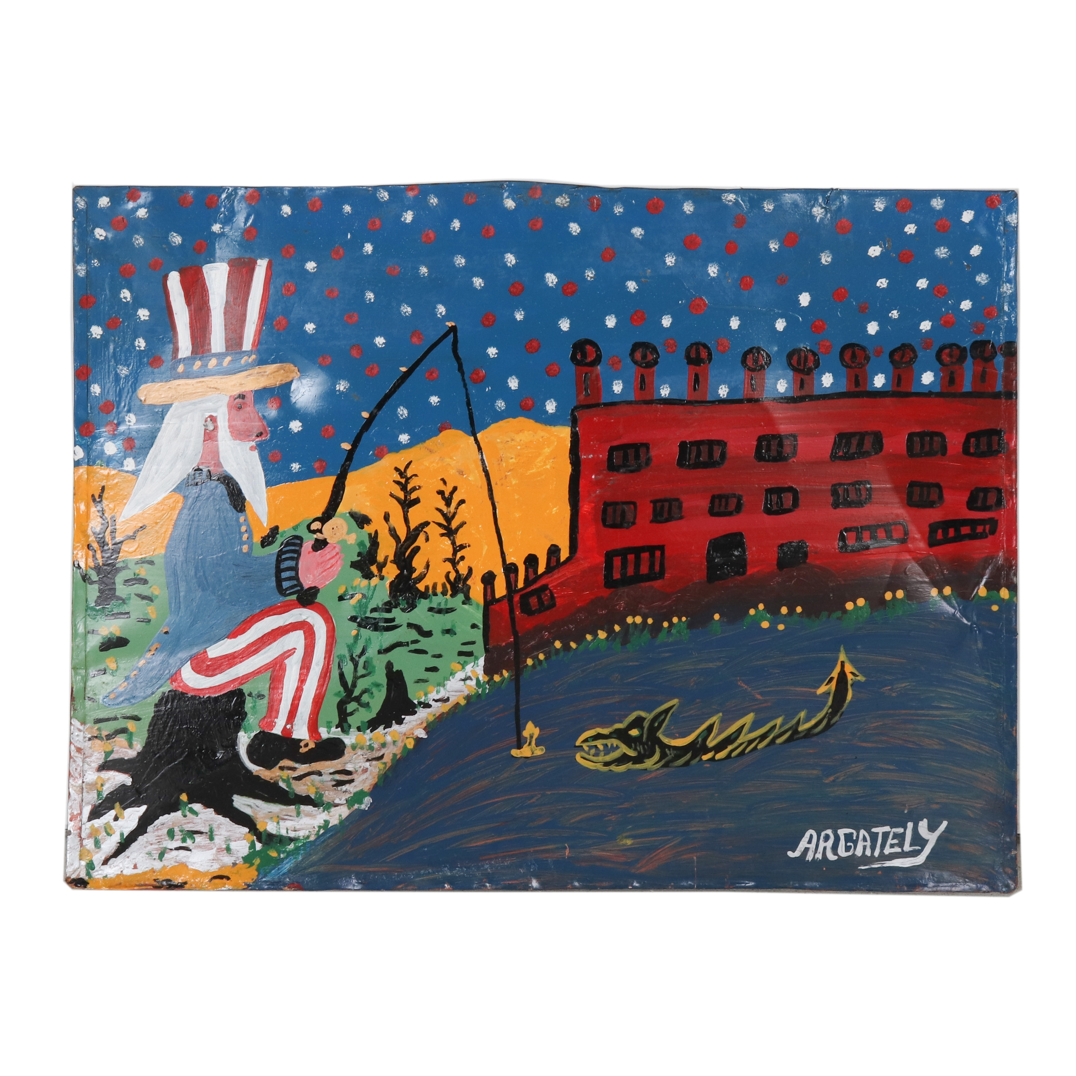 AR Gately Folk Art Acrylic Painting of Uncle Sam Fishing for a Sea Monster