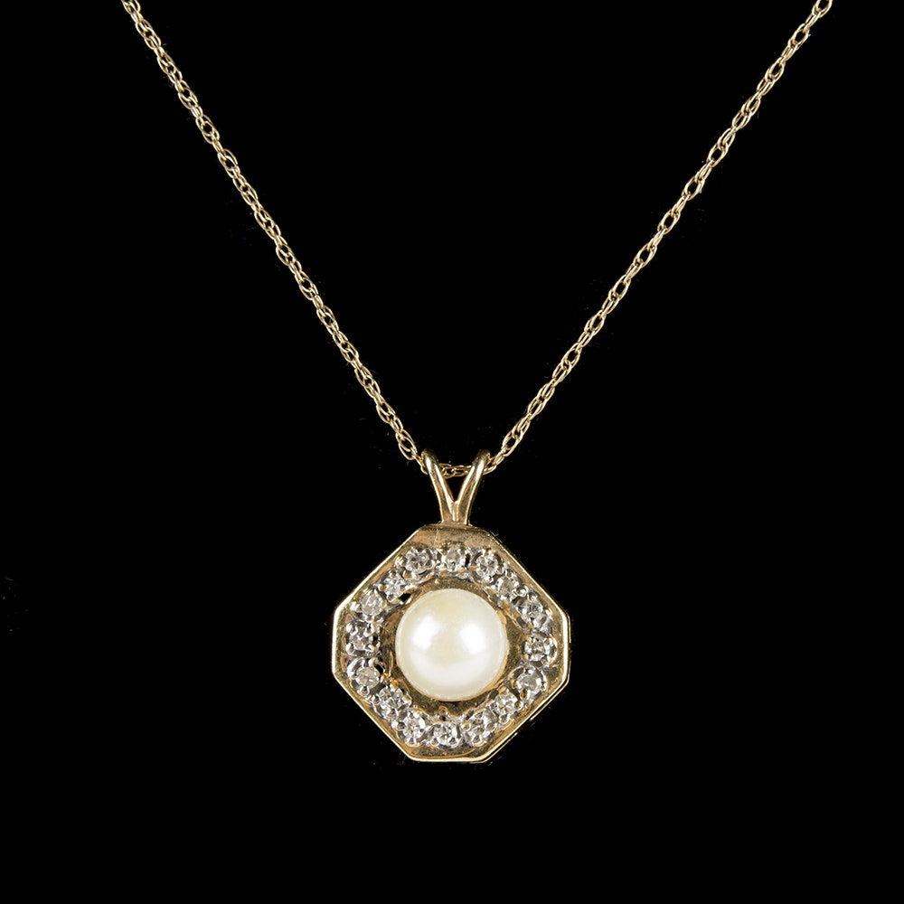 10K and 14K Yellow Gold Cultured Pearl and Diamond Necklace