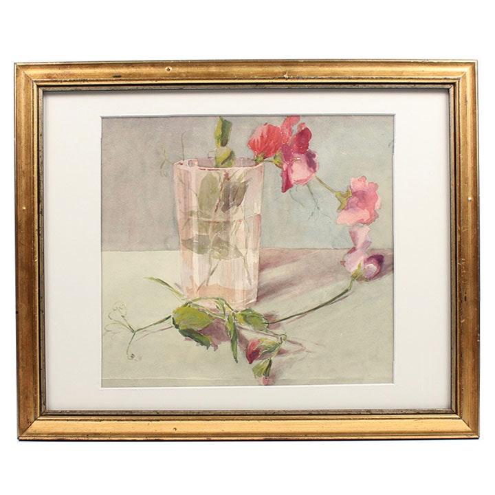 "E.N. Aikin Watercolor Painting ""Sweet Peas"""