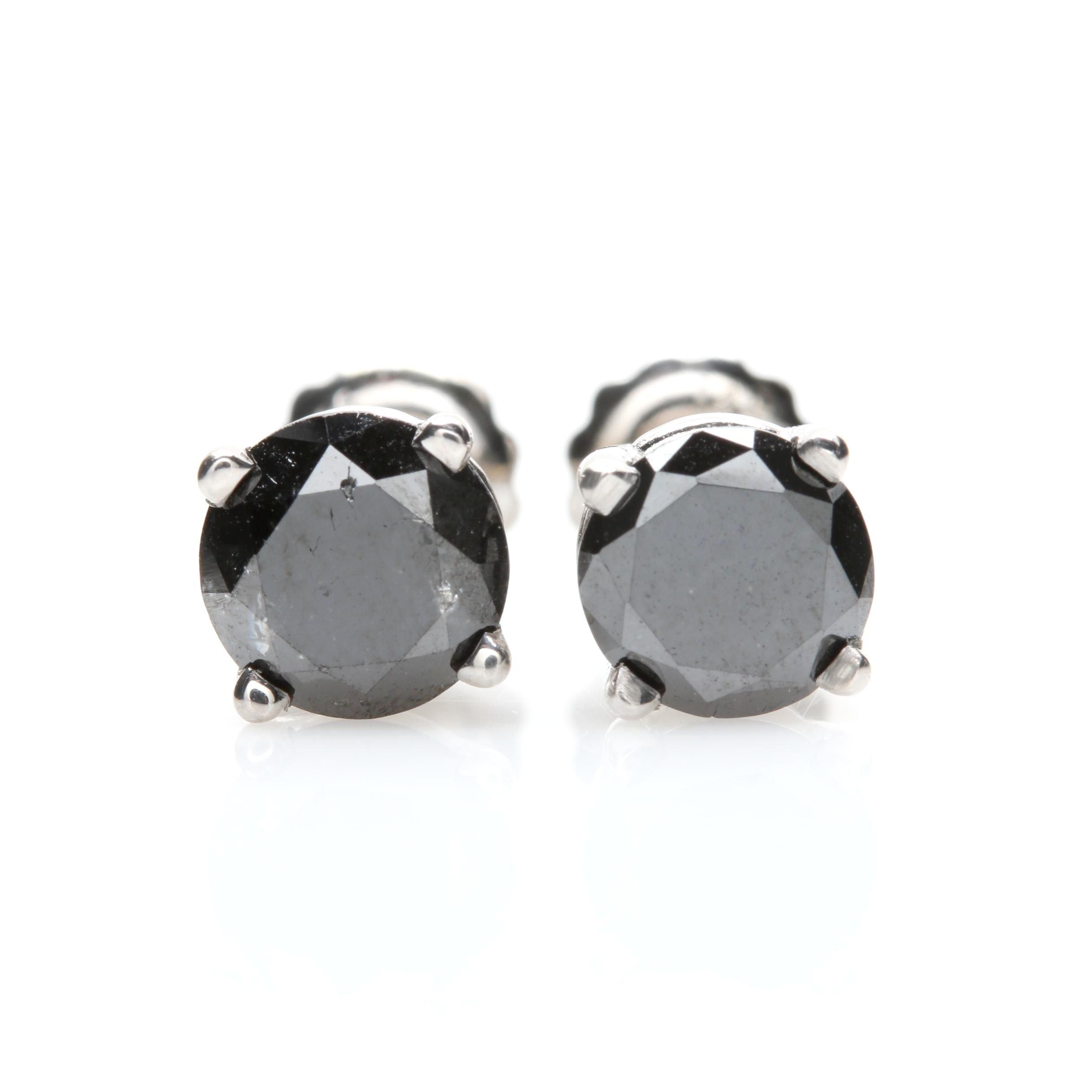 14K White Gold 1.60 CTW Black Diamond Stud Earrings