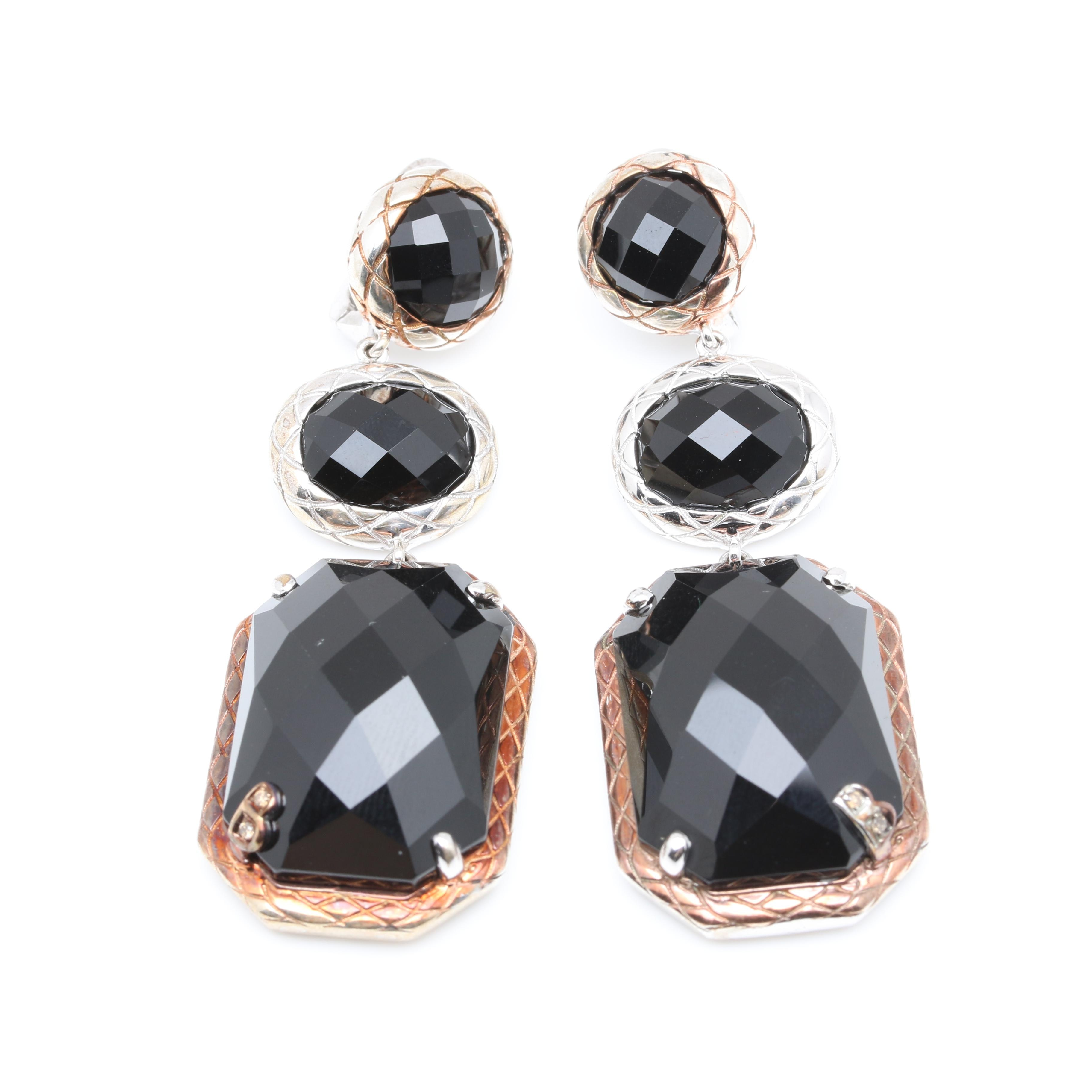 Bellari Sterling Silver Black Onyx Dangle Earrings with 18K Rose Gold Accents