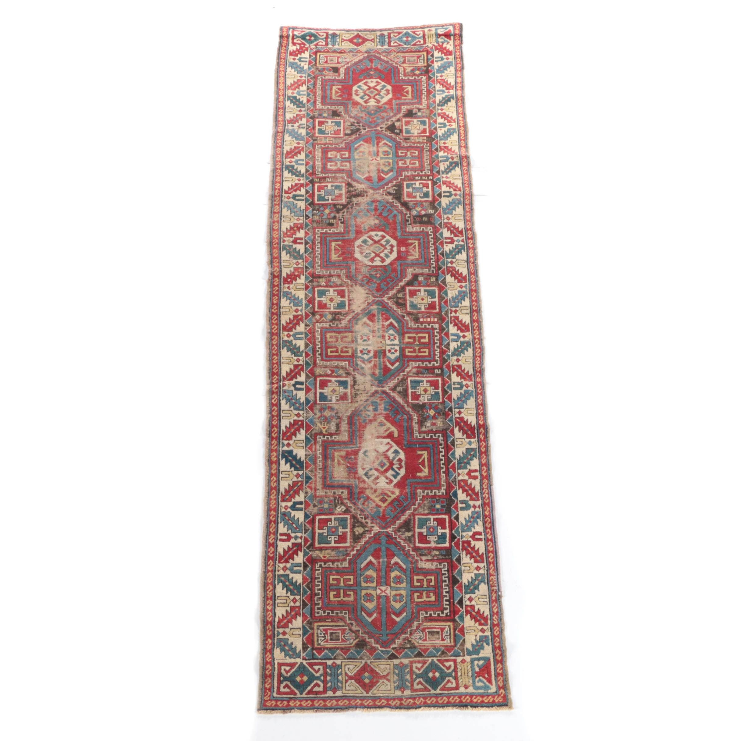 Antique Hand-Knotted Shirvan Wool Carpet Runner