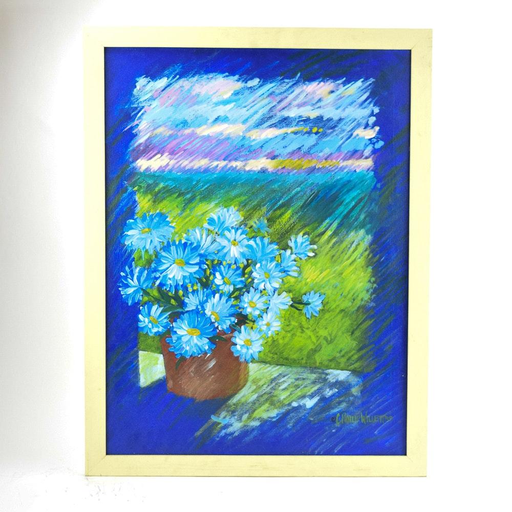"C. Phillip Willett Acrylic Painting ""Blue Mums"""