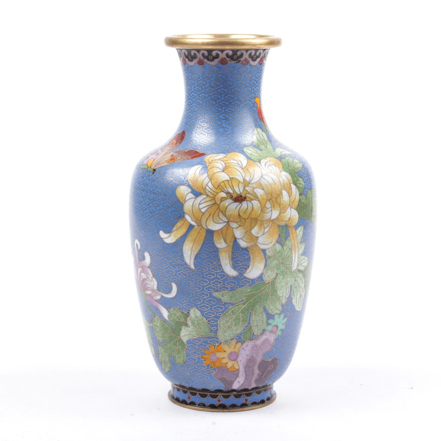 Blue Chinese Cloisonne Vase Ebth