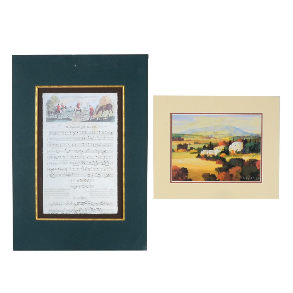Two Offset Lithograph Prints of Sheet Music and a Landscape