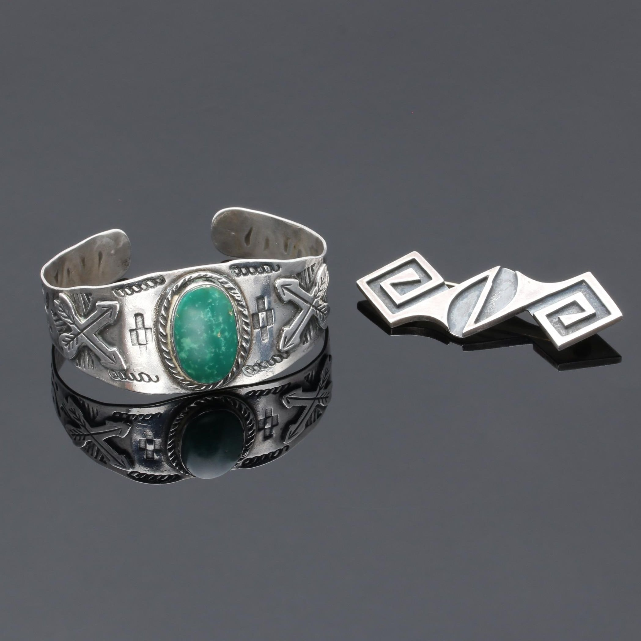 Sterling Silver Green Turquoise Cuff Bracelet and Brooch