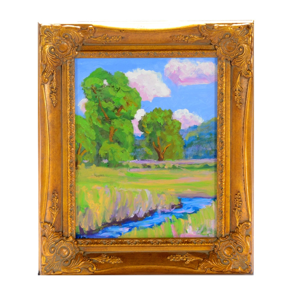 Ken Burnisde Oil on Board Plein Air Landscape Painting