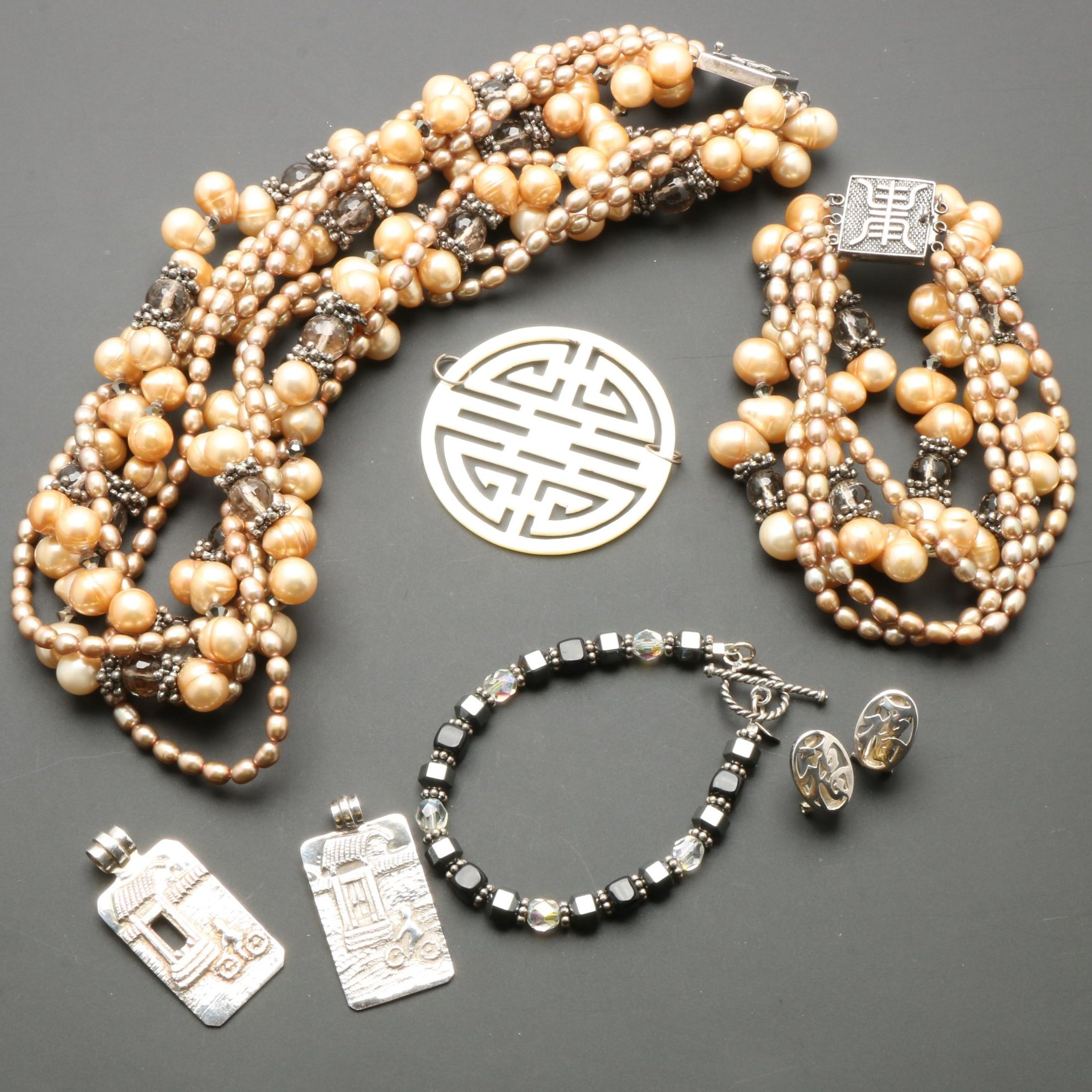 Assortment of Sterling Silver Jewelry Including Cultured Pearls
