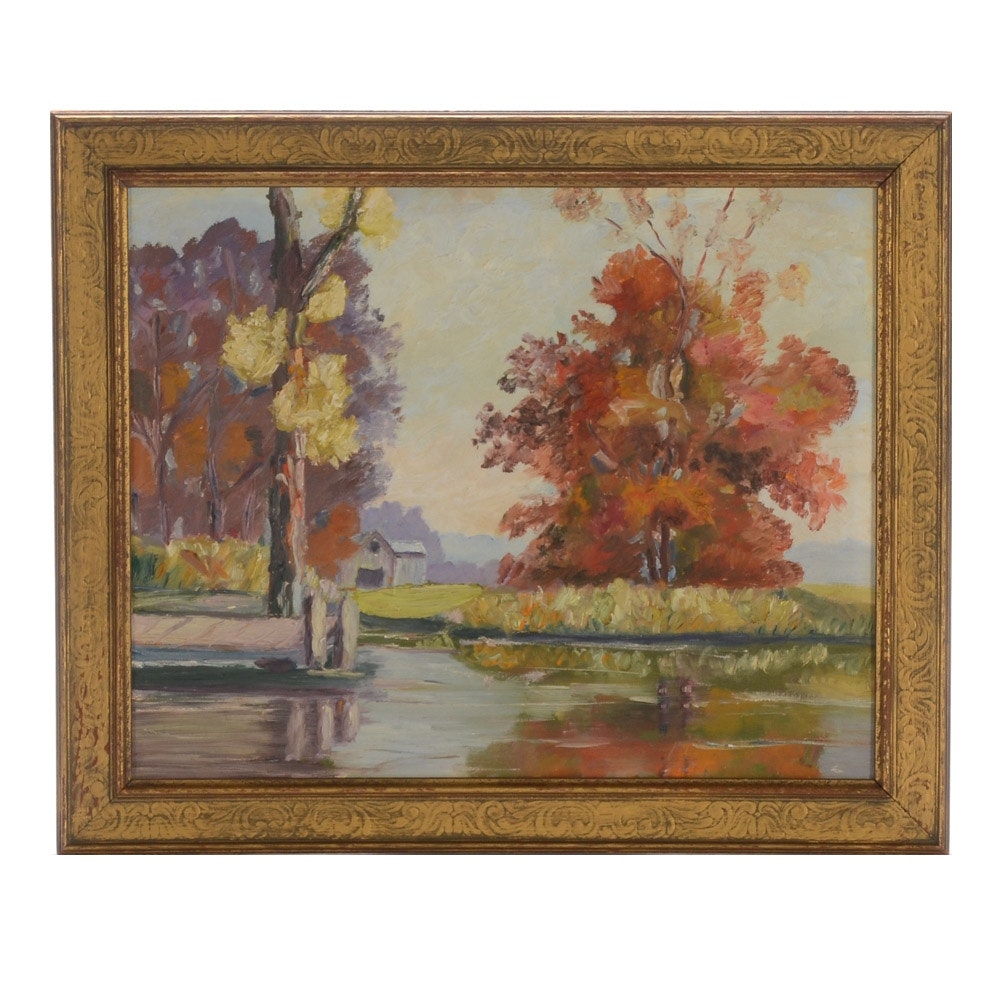 Original Oil Painting on Board of Lake Scene
