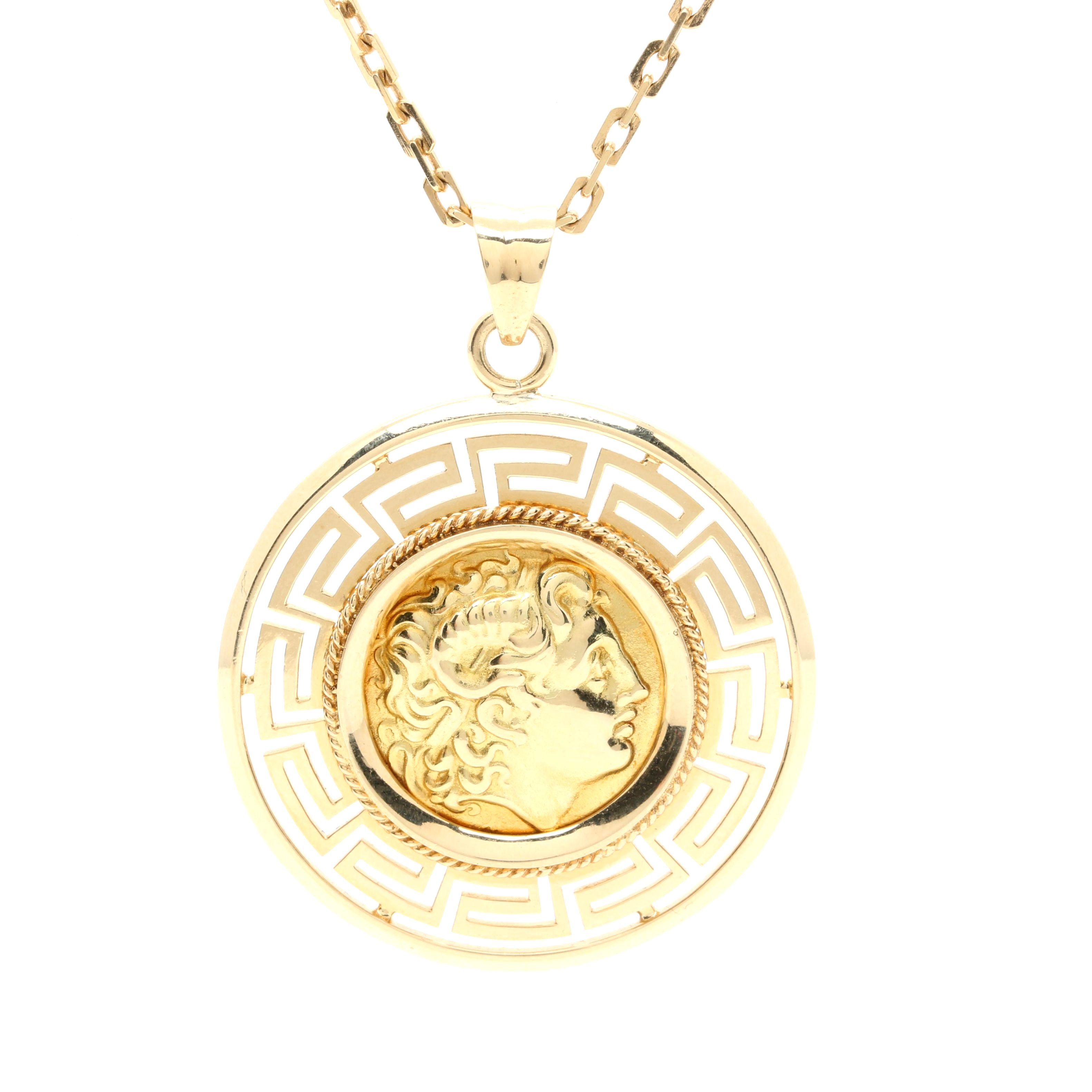 18K Yellow Gold Fantasy Coin Pendant Necklace