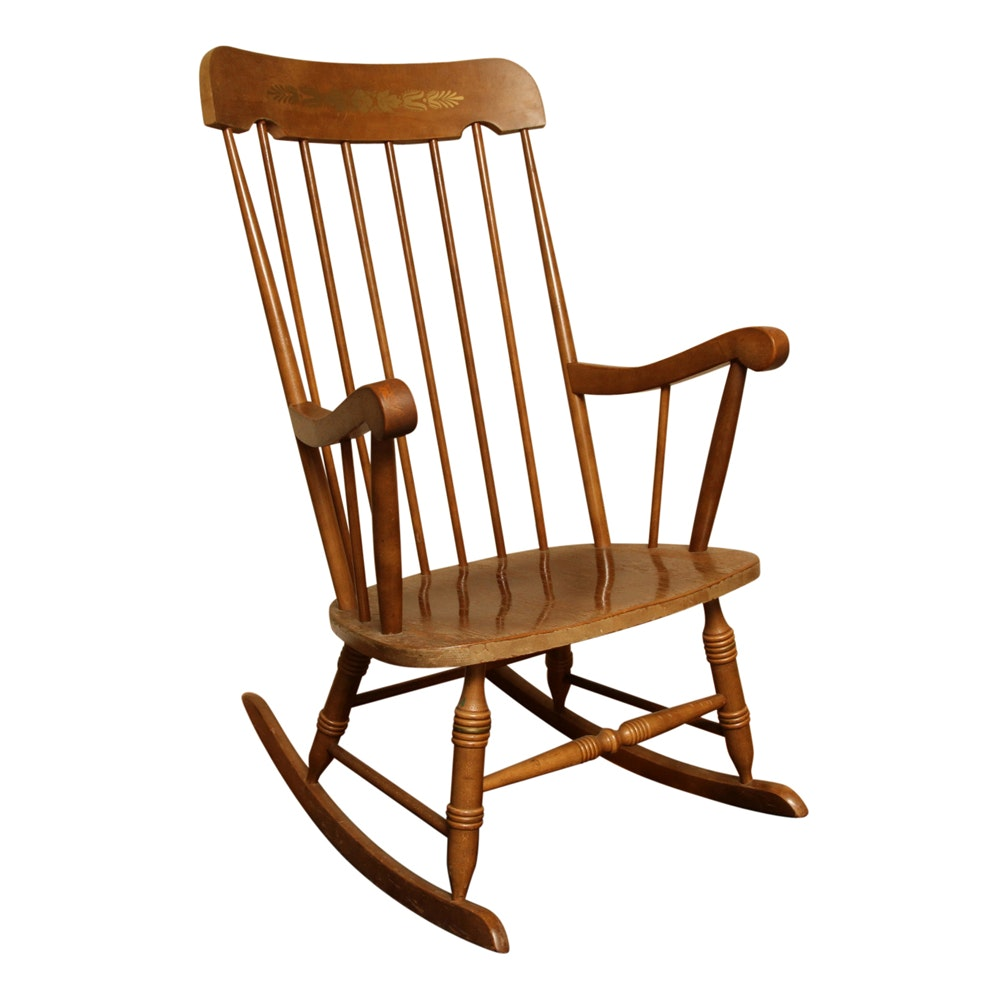 Wooden Windsor Style Rocking Chair ...