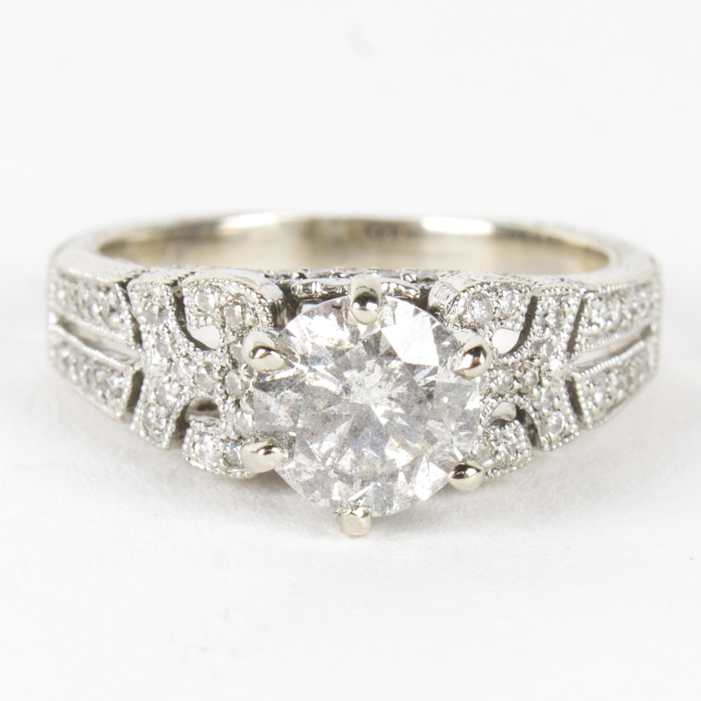 14K White Gold 1.56 CTW Diamond Engagement Ring