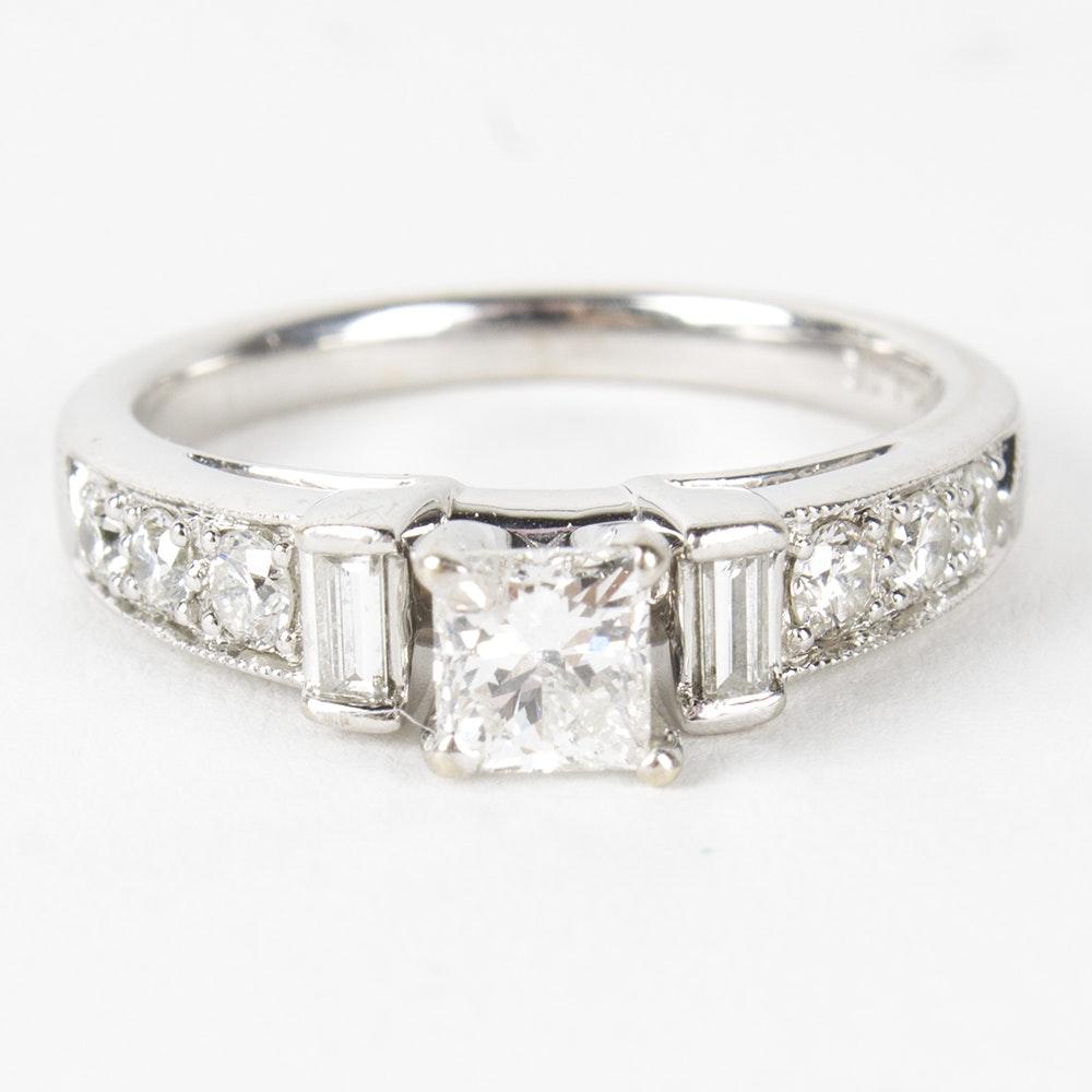14K White Gold 1.44 CTW Diamond Ring