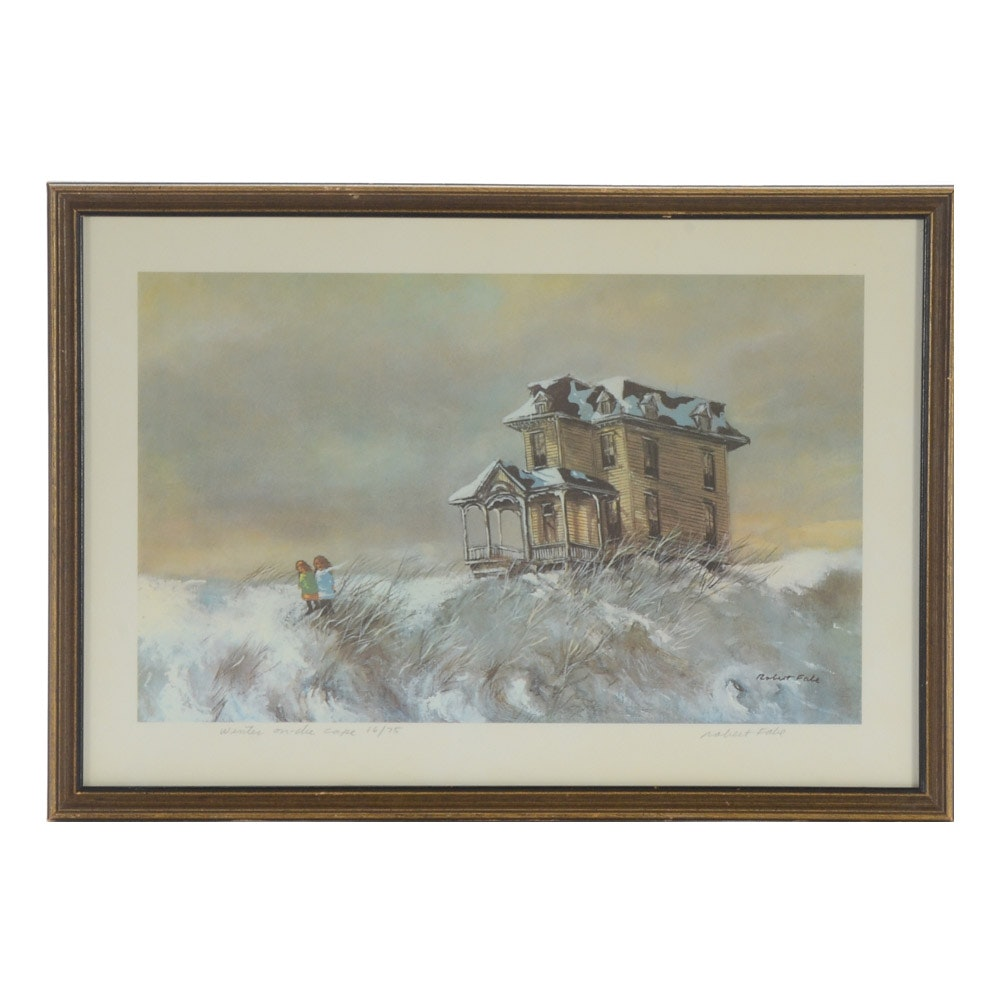 """Robert Fabe Signed Limited Edition Offset Lithograph """"Winter on the Cape"""""""
