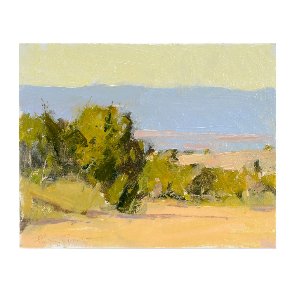 "Peter Grab Original Oil Painting on Canvas Board ""Tesuque View"""