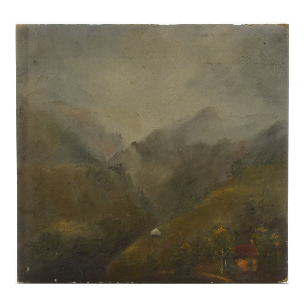 Oil on Academy Board Painting of Mountain Landscape
