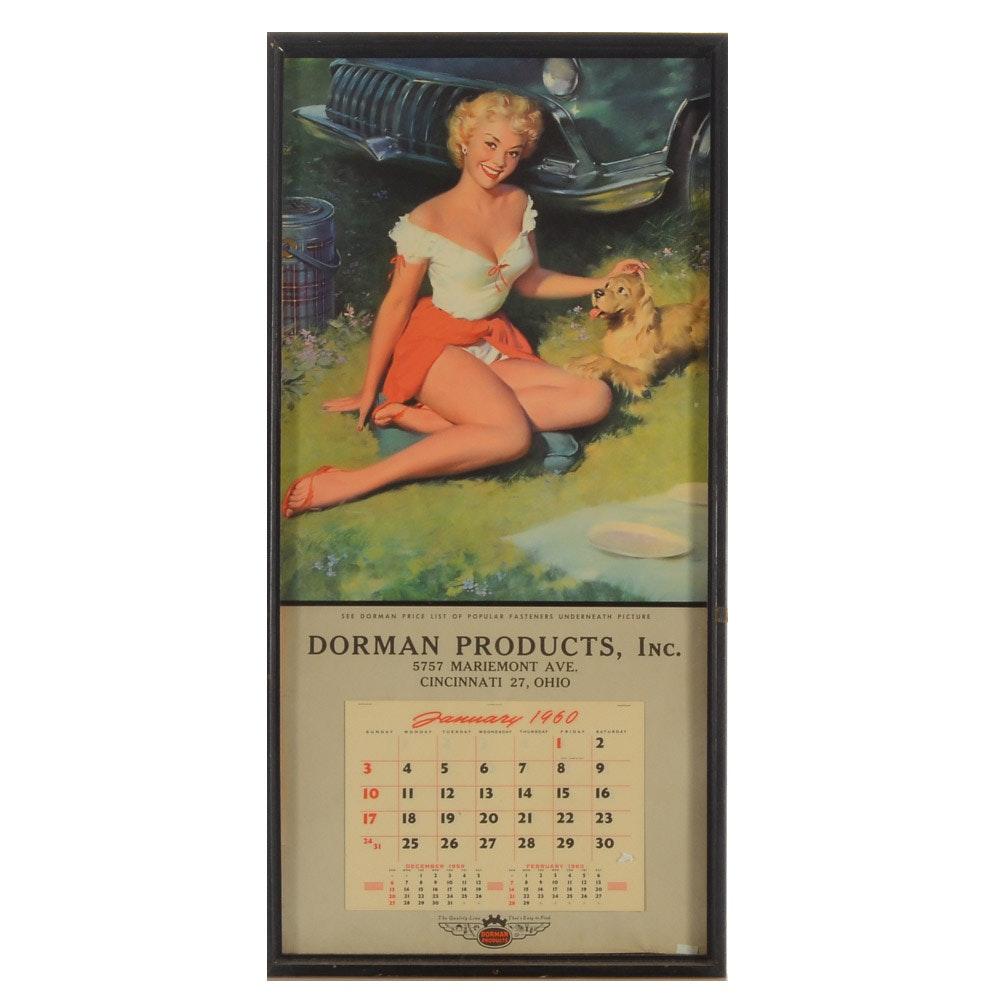 1960 Pinup Calendar Featuring Bill Medcalf Illustration