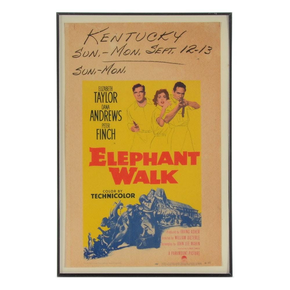 "Vintage Movie Poster from ""Elephant Walk"" Starring Elizabeth Taylor"