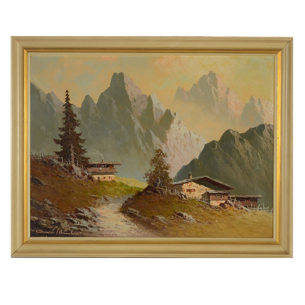 Guwe Vintage Oil on Canvas Painting of Chalet in Alpine Landscape