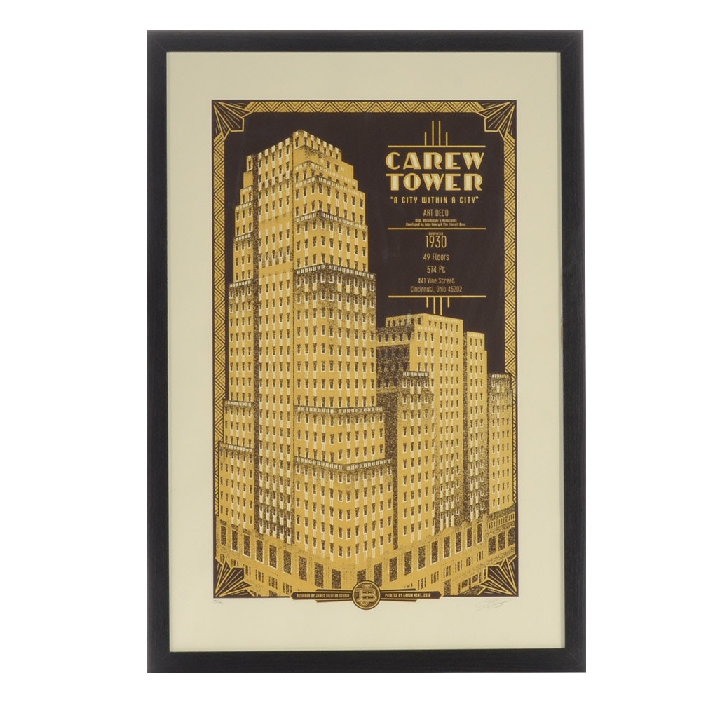 "James Billiter Signed Limited Edition Serigraph ""Carew Tower"""