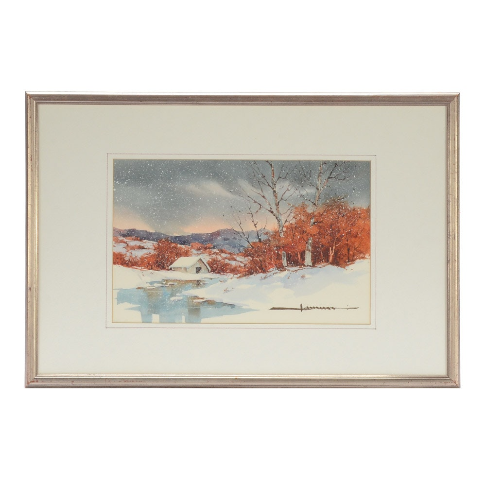 Signed Original Watercolor Painting of Pastoral Landscape in Winter
