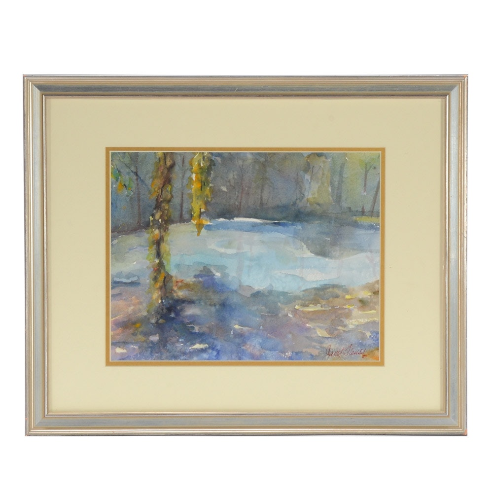 Signed Original Watercolor Painting of Abstract Landscape