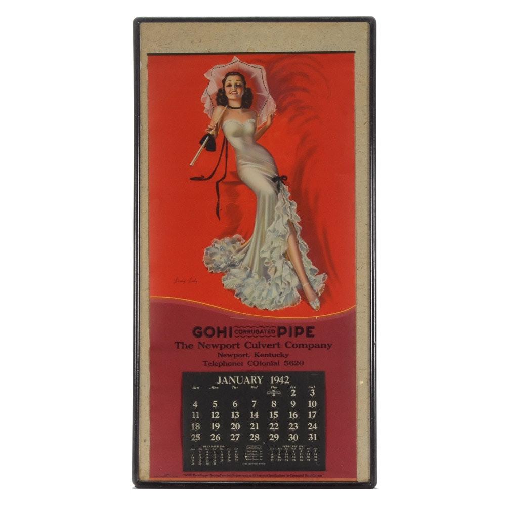 1942 Pinup Calendar Featuring Billy DeVorss Illustration