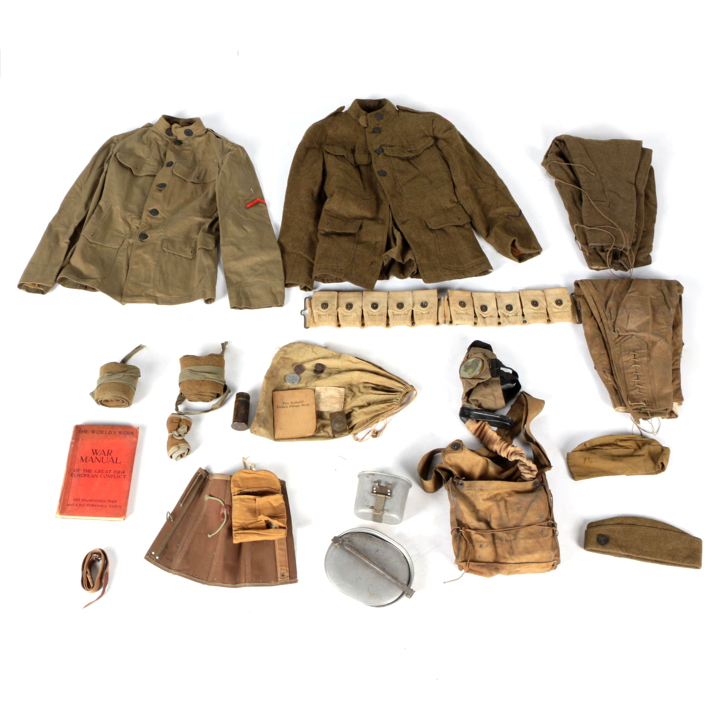 Antique and Vintage Military Uniforms and Equipment Including WWI Gas Mask