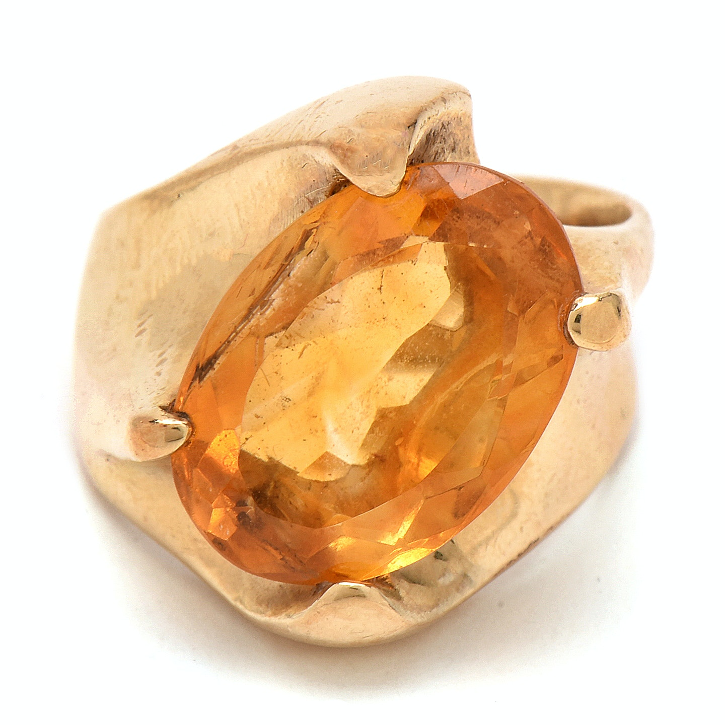 14K Yellow Gold Citrine Cocktail Ring