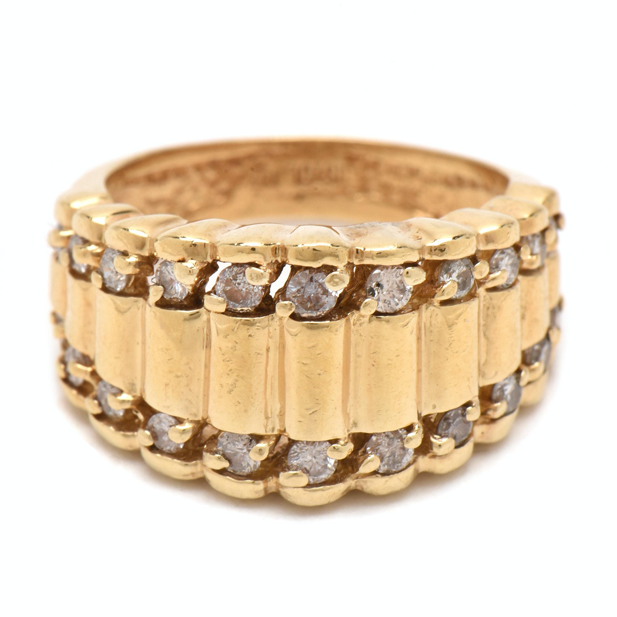 14K Yellow Gold Diamond Rippled Ring