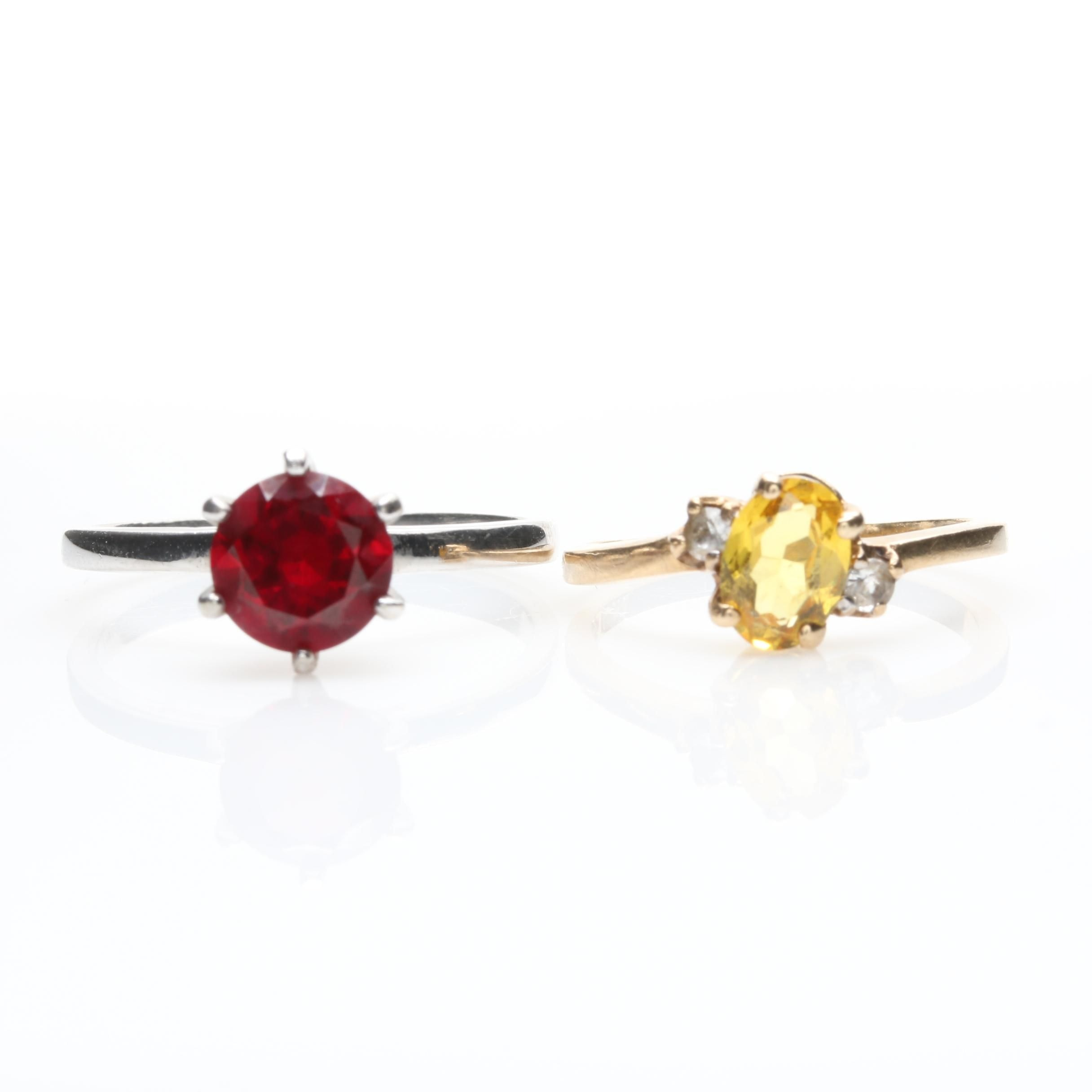10K Gold Synthetic Yellow Sapphire, Topaz and Synthetic Ruby Rings