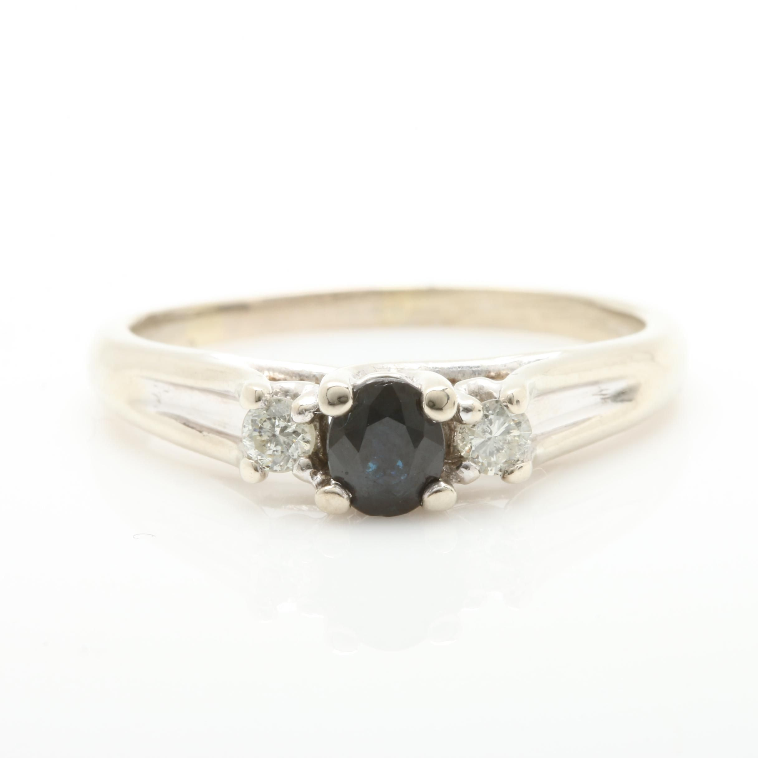 10K White Gold Blue Sapphire and Diamond Ring