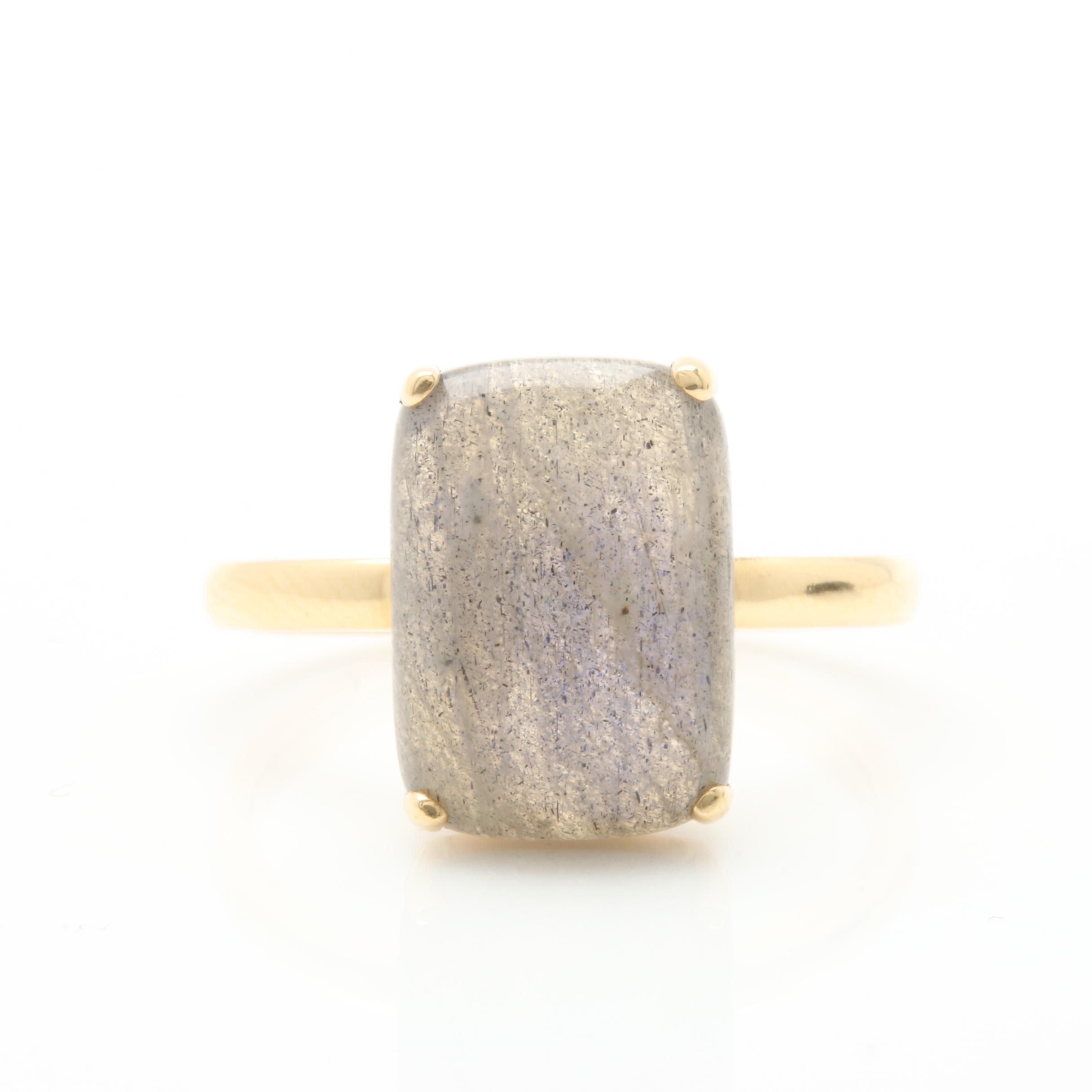 18K Yellow Gold Labradorite Ring