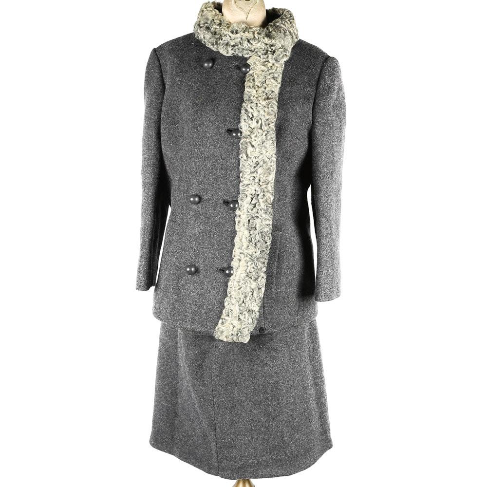 Vintage Tweed and Curly Lamb Skirt Suit Set