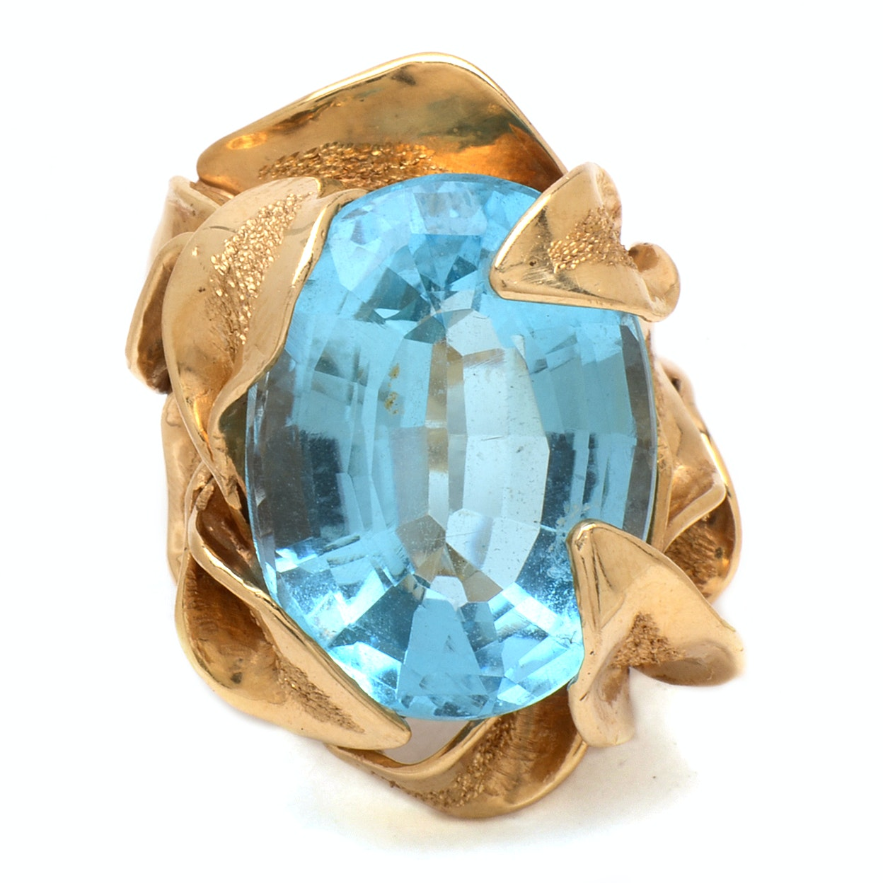 14K Yellow Gold Blue Topaz Foliage Cocktail Ring