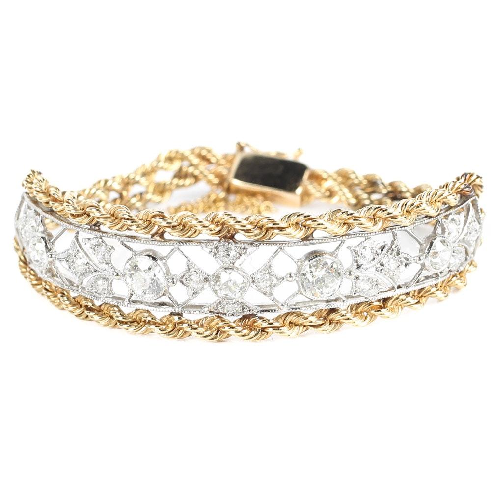 14K White and Yellow Gold 2.34 CTW Old European Cut Diamond Bracelet