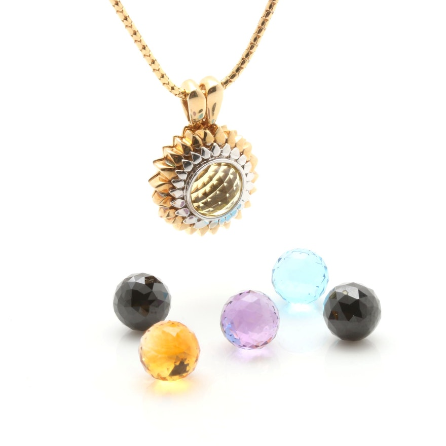 14k yellow multi gemstone bead pendant necklace with interchangeable 14k yellow multi gemstone bead pendant necklace with interchangeable beads aloadofball Gallery