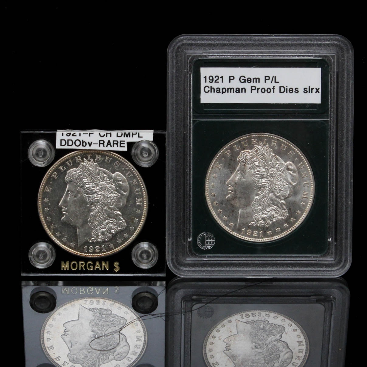 Two 1921 Mogan Silver Dollar Coins