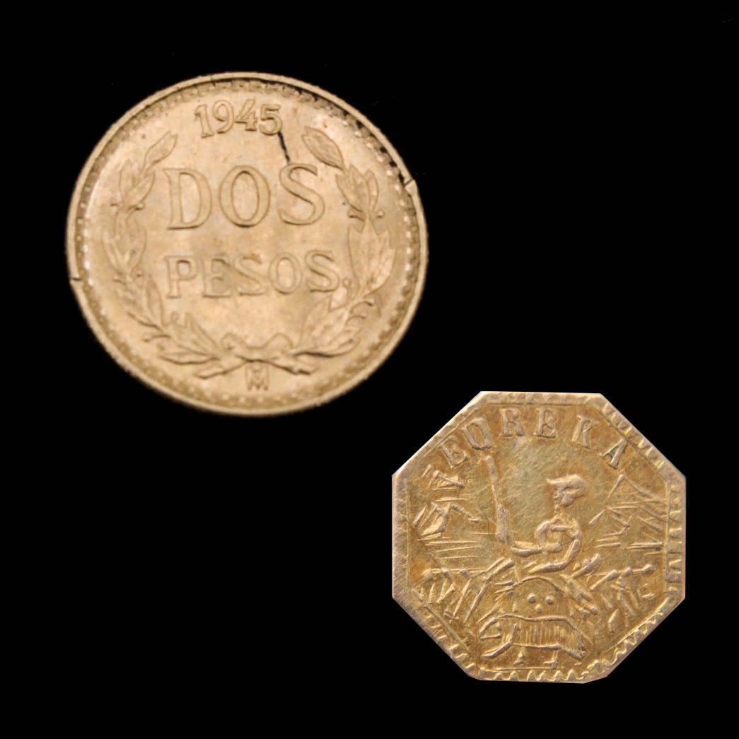 1945 (Restrike) Dos Pesos Gold Coin and 1853 Eureka Arms California Gold Token