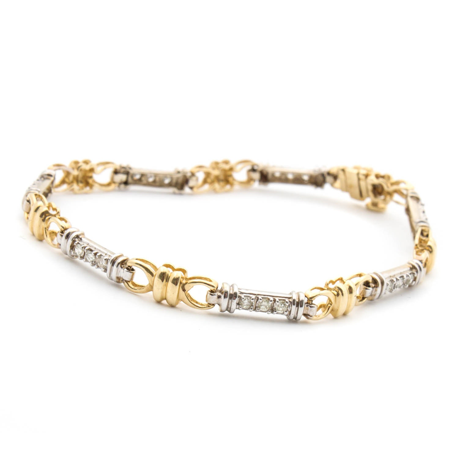 14K Bi-Color Gold Diamond Bracelet