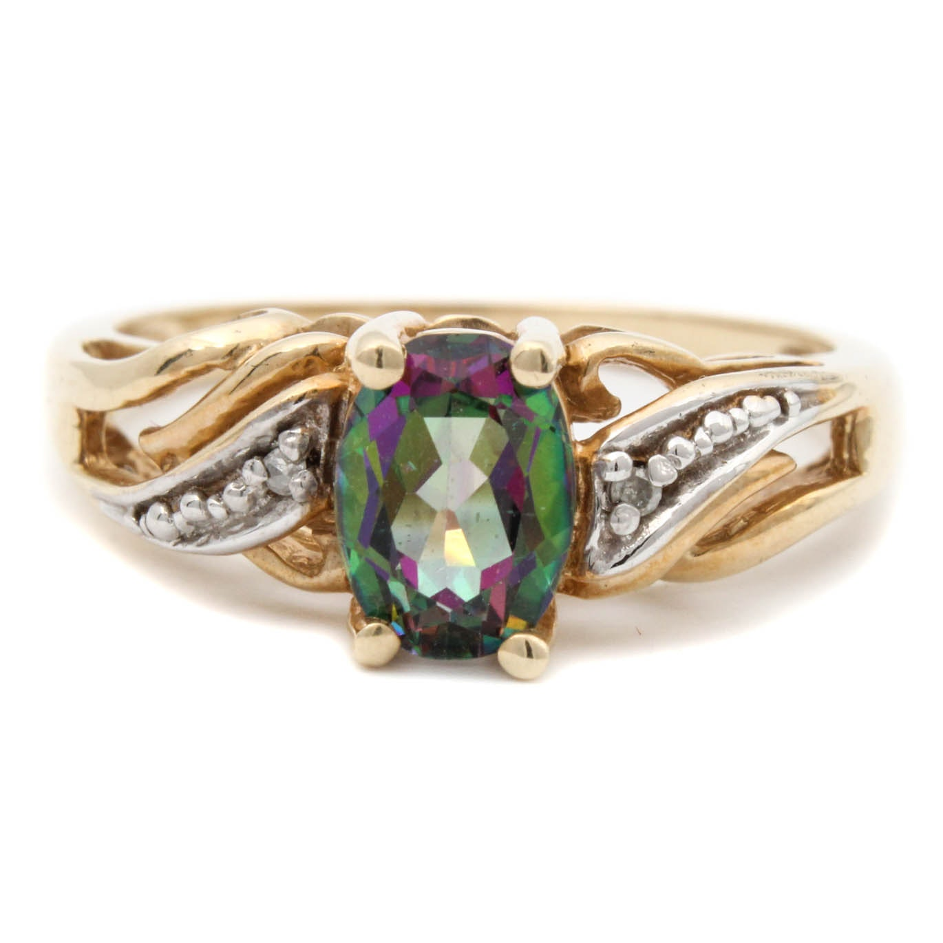 10K Yellow Gold Synthetic Mystic Topaz and Diamond Ring