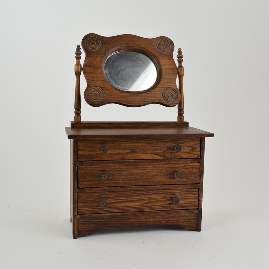 Semi Antique Seller Sample Oak Dresser With Swivel Mirror Ebth