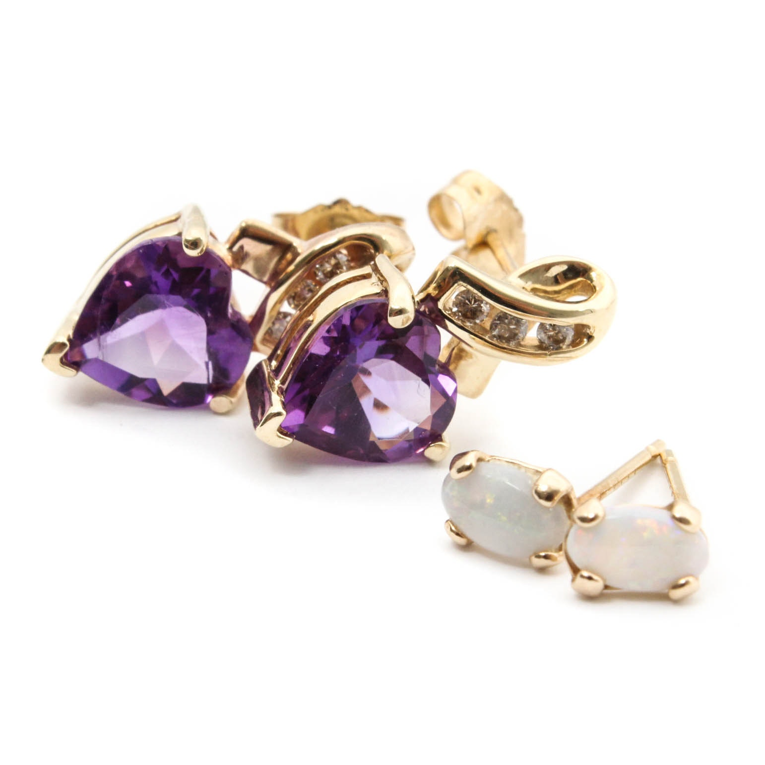 14K Yellow Gold Opal Earrings and 10K Yellow Gold Amethyst and Diamond Earrings