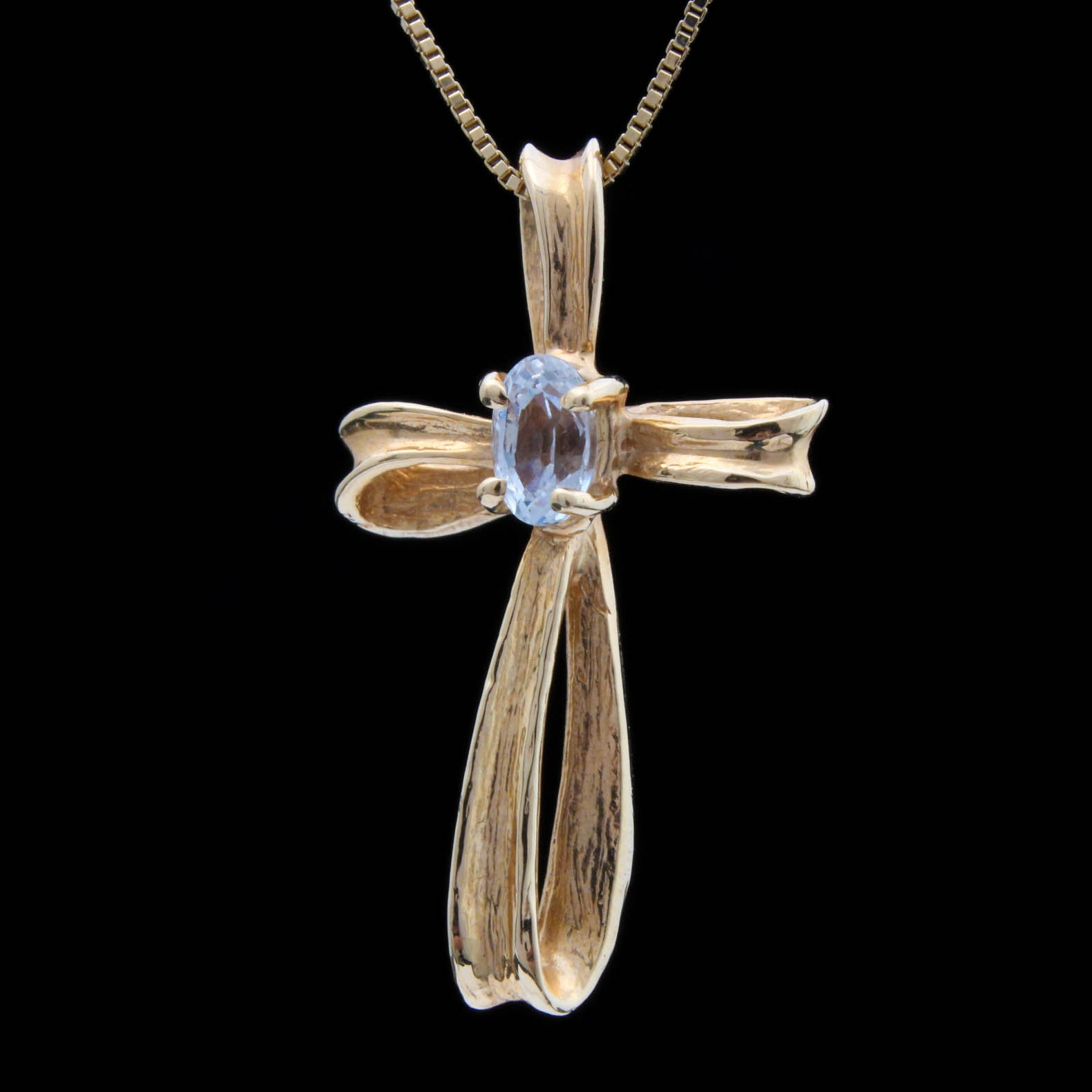 14K Yellow Gold White Topaz Cross Pendant Necklace
