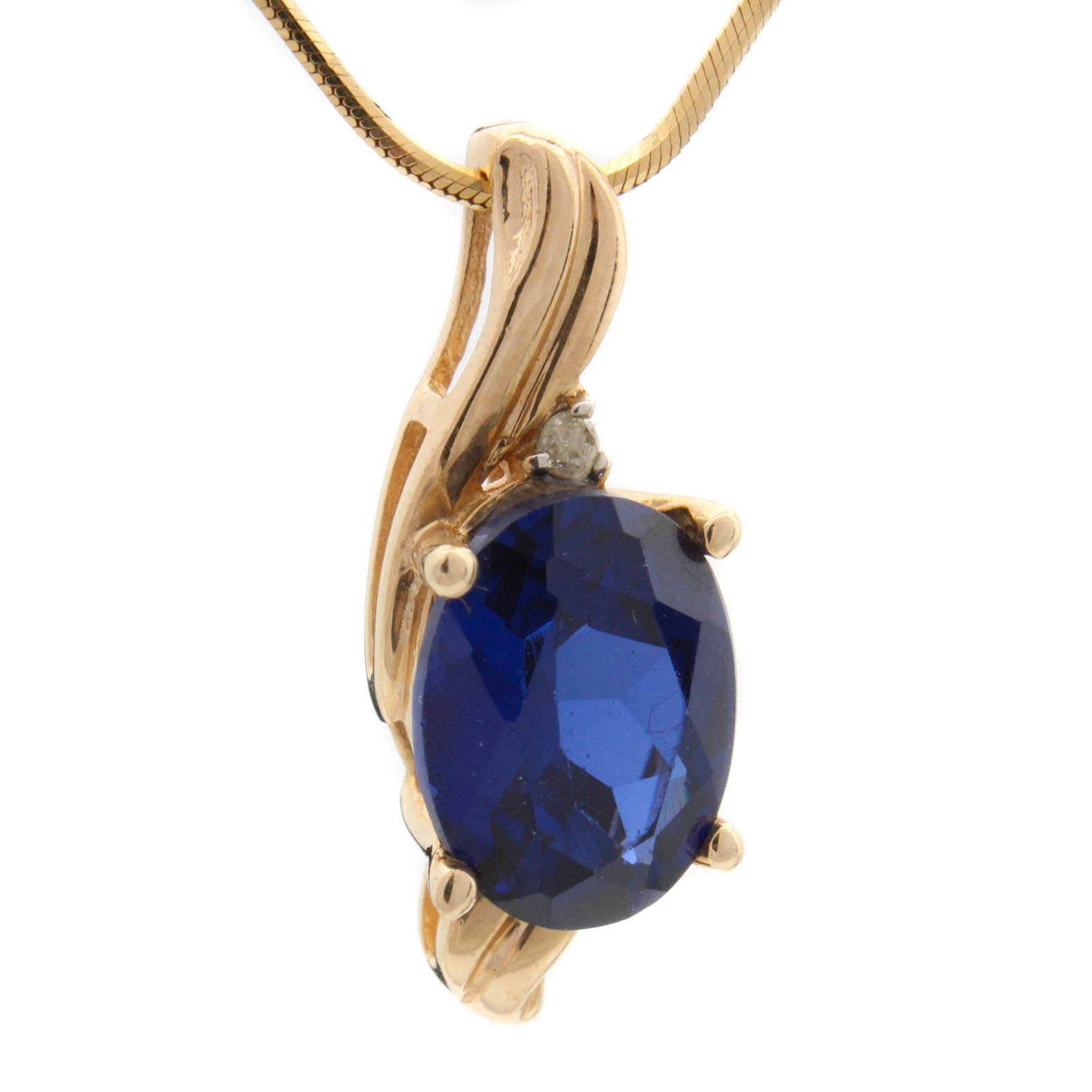 14K Yellow Gold Synthetic Sapphire and Diamond Pendant Neckalce