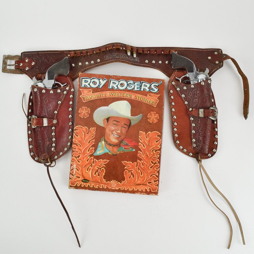 Roy Rogers Book, Cap Guns, and Leather Holster