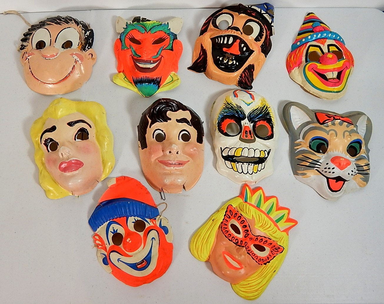 Ten Vintage Plastic Halloween Masks