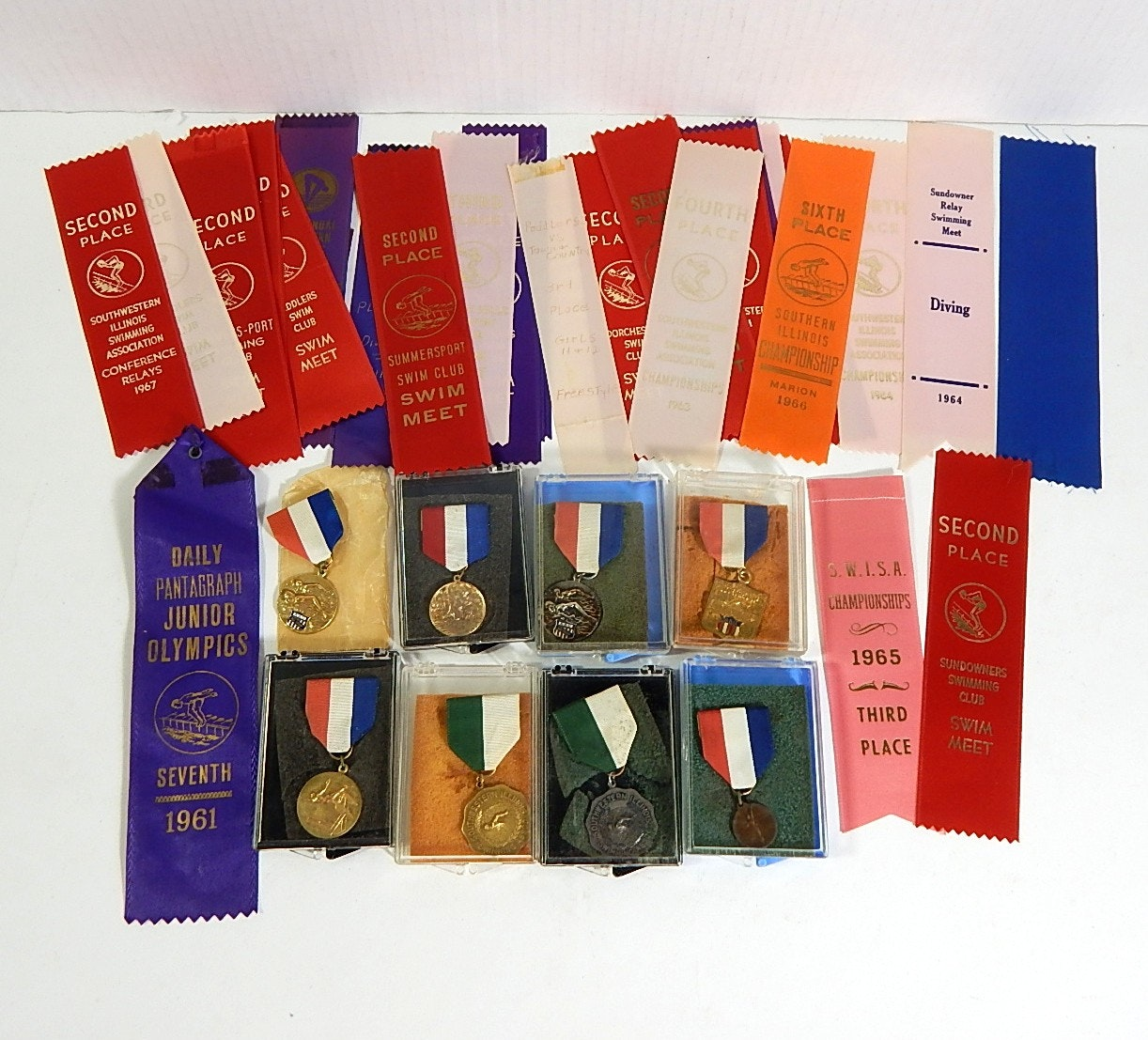 Vintage 1960s Medals and Ribbons for Swimming and Diving - Jr. Olympics